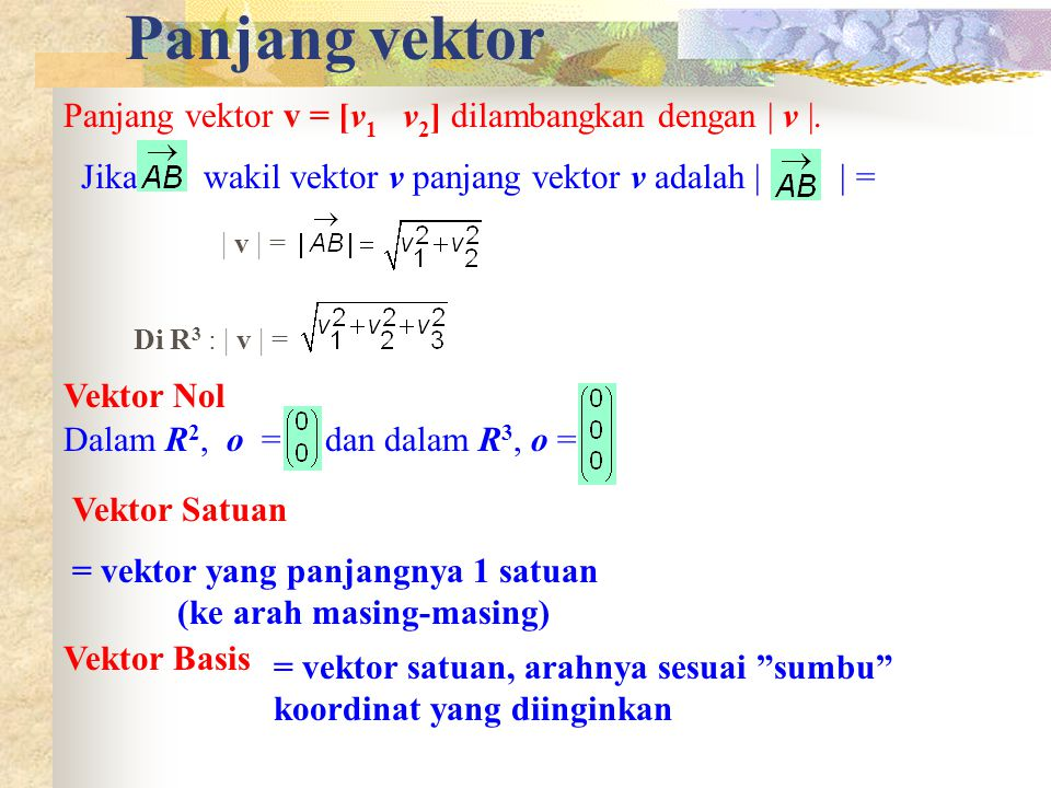 Panjang vektor Panjang vektor v = [v1 v2] dilambangkan dengan | v |.